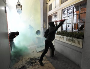 London Protest: Demonstrators break windows of the Ritz Hotel during the protest
