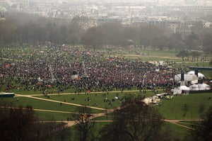 London Protest: A general view of a mass rally in Hyde Park