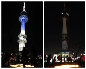 Earth Hour: N Seoul Tower before and during Earth Hour in Seoul