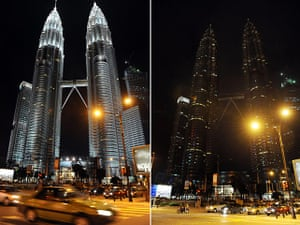 Earth Hour: This combination of images shows Malaysi