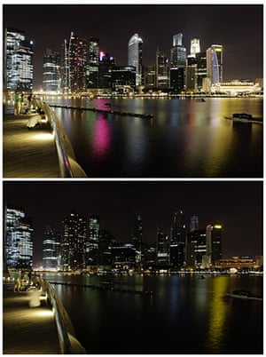 Earth Hour: skyscrapers of Singapore's central business district during Earth Hour 2011