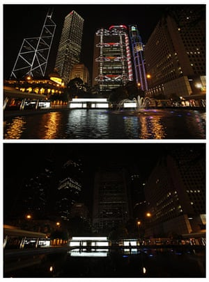 Earth Hour: Hong Kong's central financial district before and during Earth Hour