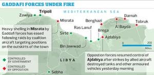 Gaddafi under fire Libya map