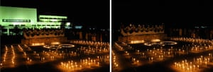 Earth Hour: Combination pictures show lights on and off