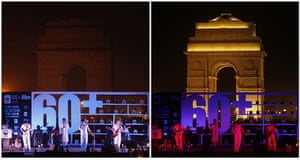 Earth Hour: Combination pictures of lights on and off