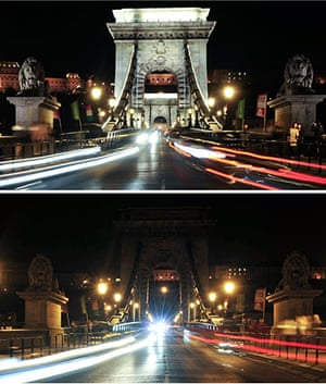 Earth Hour: Combination pictures show the lights on and off