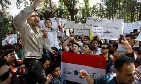 Syrian protesters in Cairo