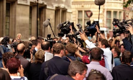 Media scrums are a feature of British journalism