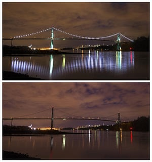 Earth Hour: the Lions Gate Bridge  in West Vancouver