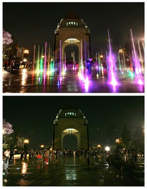 Earth Hour: the Monument of the Revolution in Mexico city , Mexico