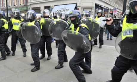 Police in Oxford Circus during Saturday's cuts protest