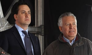 Ed Miliband and Peter Hain at TUC cuts protest march