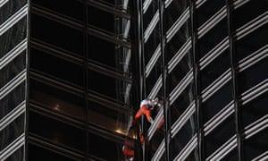 French Alain Robert climbs tower of Burj Khalifa