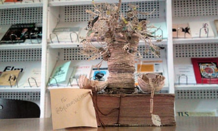 So far none of the Scottish Poetry Library staff know who left them this tree made from books   pic: Michael MacLeod