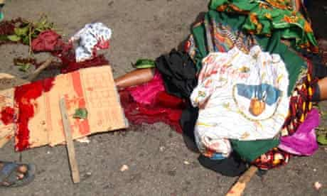 A picture allegedly shows the body of female protester shot dead in Abobo, Ivory Coast