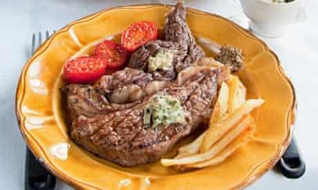 Easy on the vegetables: steak frites.