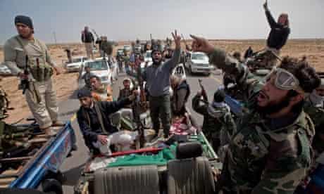 Rebel soldiers near Ras Lanuf
