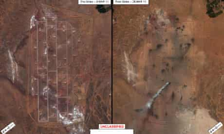 An underground ammunition depot in Libya's desert - before and after it was destroyed