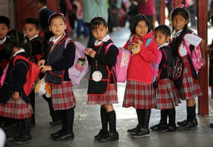 Guatemala Toybox Charity: Girls in  their smart uniform attend a primary school in the north of Guatemala City