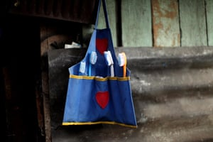 Guatemala Toybox Charity: Toothbrushes hang in a little pouch