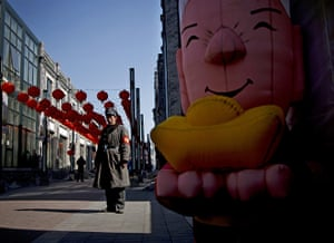 from the agencies: A security guard on the historic Qianmen street