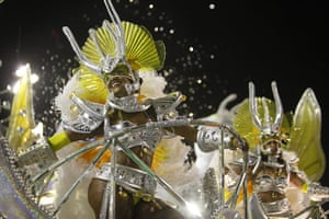 Rio carnival: Dancers perform on a Sao Clemente samba school float at the Sambadrome
