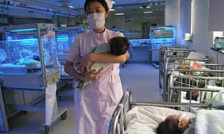 Newborn babies in a Chinese hospital