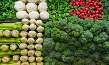 Stacks of vegetables
