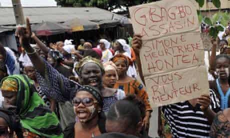 Women demonstrate on International Women's Day in the Ivory Coast