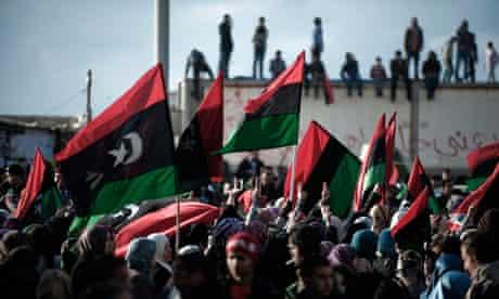 Libyan protesters in Benghazi