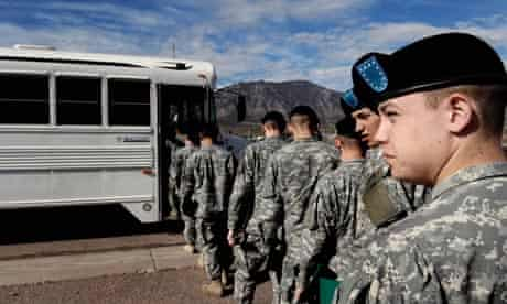 US army recruits board a bus