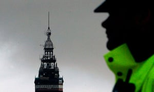 An officer patrols in Blackpool, where police received calls reporting a small earthquake