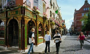 Temple Bar in Dublin, where property prices have collapsed