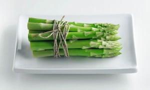 Artfully arranged asparagus