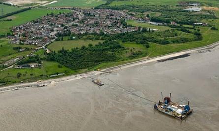 An overhead view of BritNed shorelanding grain