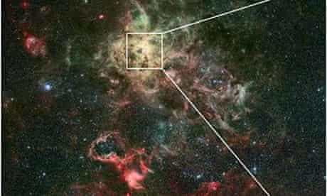 Stars tarantula nebula clusters NGC3603 and RMC 136a