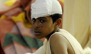 An injured boy