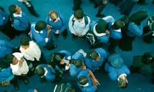 Pupils in school playground