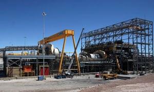 A view of the copper mills area inside Chile's Esperanza open pit copper mine near Calama town