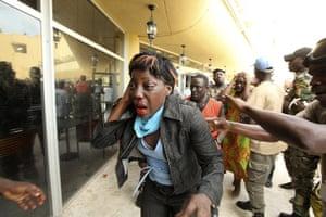 Ivory Coast: Laurent Gbagbo reacts outside the premises of Hotel Golf in Abidjan