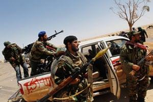 Ajdabiya, Libya : Rebel fighters await a Libyan Army advance, Ajdabiya