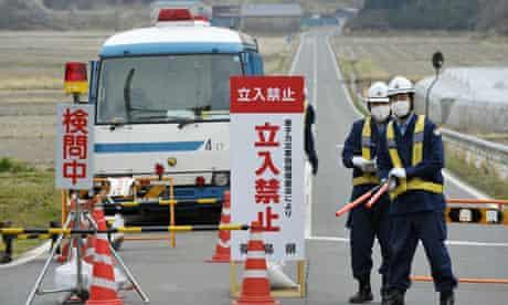 Police checkpoint in Minamisoma, Japan