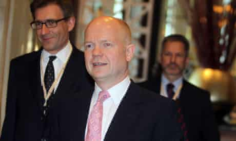 William Hague arrives at the Doha conference on Libya