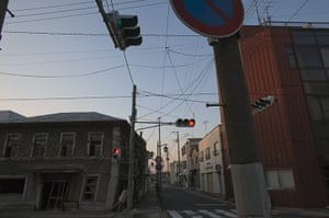 Fukushima exclusion zone: 12 April: A deserted street in Futaba Town about 6km away from the plant