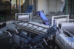 Fukushima exclusion zone: 12 April: Wheelchairs and hospital beds abandoned in Namie