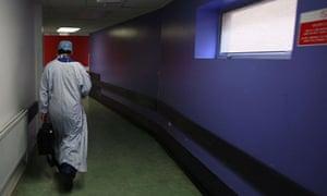 Surgeon in corridor