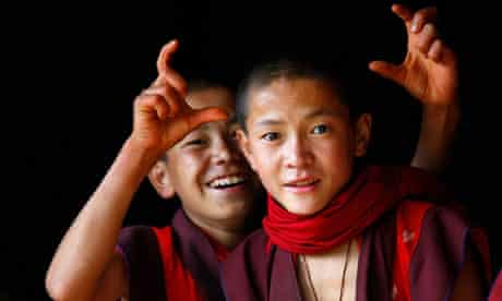 Young monks at a school near the Bhutanese town of Paro