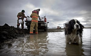 24 hours in pictures: A springer spaniel stands in floodwater from the Red River in North Dakota