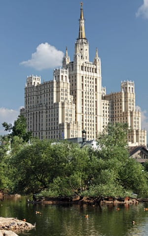 10 best: tall buildings: Kudrinskaya Square Building in Moscow, Russia. View from the Moscow zoo