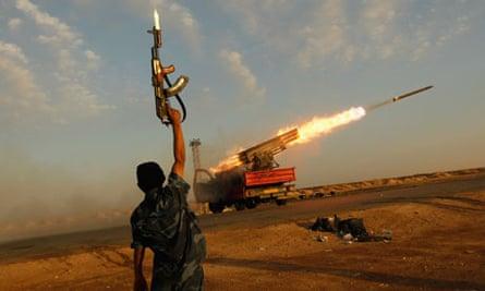 Libya rebels in Ajdabiyah